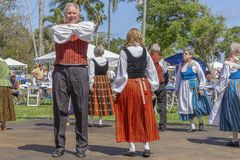 Valor del lago, la Florida, los E.E.U.U. festival de Sun de medianoche del 3 de marzo de 2019 que celebra la cultura finlandesa fotografía de archivo