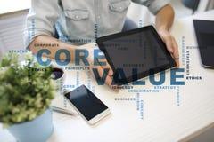 Valor do núcleo na tela virtual Conceito do negócio Nuvem das palavras foto de stock royalty free