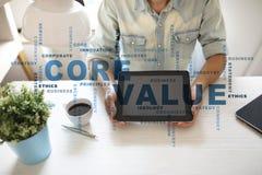 Valor do núcleo na tela virtual Conceito do negócio Nuvem das palavras imagem de stock royalty free
