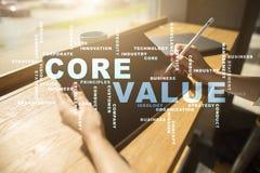 Valor do núcleo na tela virtual Conceito do negócio Nuvem das palavras fotografia de stock royalty free