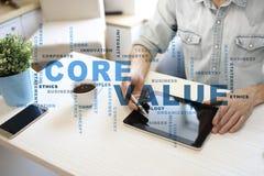 Valor do núcleo na tela virtual Conceito do negócio Nuvem das palavras fotos de stock royalty free