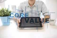 Valor do núcleo na tela virtual Conceito do negócio Nuvem das palavras imagens de stock royalty free