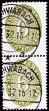 Valor 6 em um oval, serie de Straw Hat Pattern, cerca de 1932 foto de stock