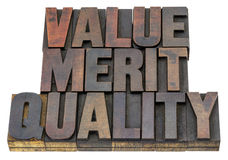 Valor, mérito, qualidade Imagens de Stock Royalty Free