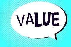 Valore del testo di scrittura di parola Concetto di affari per i principi o il giudizio di comportamento di norme che importante  illustrazione di stock