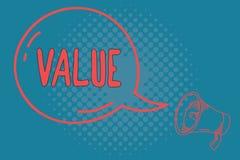 Valore del testo di scrittura di parola Concetto di affari per i principi o il giudizio di comportamento di norme che importante  royalty illustrazione gratis
