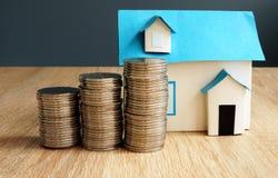 Valore di una proprietà Modello della casa e delle monete fotografia stock