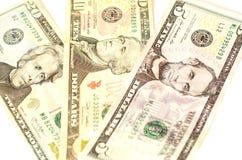 Valore nominale delle banconote in dollari di $ 5 cinque, di $ 10 dieci e di $ 20 venti Fotografia Stock