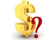 Valore sconosciuto del dollaro con un punto interrogativo Immagine Stock