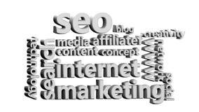 Valores de la animación relacionados con el márketing de Internet stock de ilustración