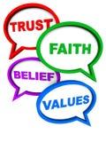 Valores de la creencia de la fe de la confianza stock de ilustración
