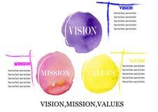 Valores de la misión de la visión del concepto del negocio, pintura de la acuarela en el fondo blanco Fotografía de archivo libre de regalías
