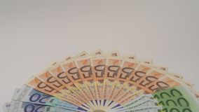 valores de las cuentas de los euros 4K diversos Cuenta euro de veinte, cincuenta y ciento metrajes