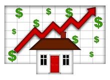 Valores del hogar de las propiedades inmobiliarias que suben Foto de archivo libre de regalías