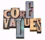 Valores do núcleo - exprima o sumário no tipo de madeira fotografia de stock