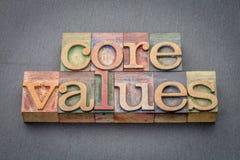 Valores do núcleo no tipo de madeira fotografia de stock royalty free