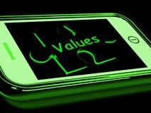 Valores en Smartphone que muestra principios Fotos de archivo libres de regalías