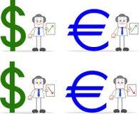 Valores euro del dólar fijados Fotografía de archivo libre de regalías