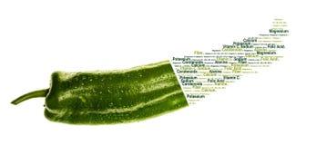 Valores nutritivos do pimento verde muito fresco imagem de stock royalty free
