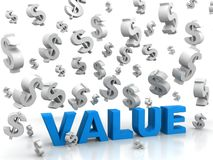 Valores que vão abaixo dos dólares Fotografia de Stock