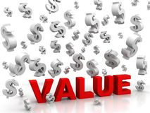 Valores que van abajo de dólares Imágenes de archivo libres de regalías