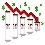 Valori della casa del bene immobile che scendono il grafico Fotografia Stock Libera da Diritti