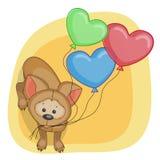 Valp med baloons Arkivfoton