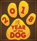 Valp Paw Print för 2018: Kinesiskt år av hunden, vektorillustration royaltyfri illustrationer