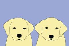 Valpar för labradorselfie två stock illustrationer