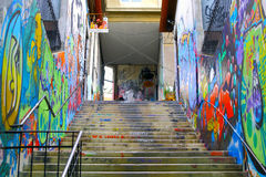 VALPARAISO - 10 ΙΟΥΝΊΟΥ: Γκράφιτι τέχνης οδών σε Valparaiso, Χιλή Στοκ εικόνες με δικαίωμα ελεύθερης χρήσης
