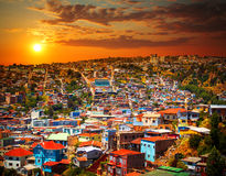 Valparaiso, Chile. Colorful buildings on the hills of the UNESCO World Heritage city of Valparaiso, Chile Royalty Free Stock Photography