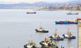 VALPARAISO, CHILE- june 10: The busy cargo seaport. Valparaiso, Royalty Free Stock Image