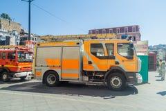 VALPARAISO CHILE, MARZEC, - 29, 2015: Pojazd Niemiecki oddział Valparaiso strażacy Ten pojazd opisuje obok zdjęcie royalty free