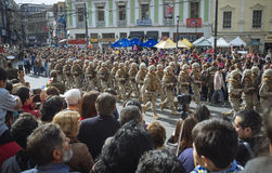Valparaiso, Chile. May 21, 2017. Civic military celebration for May 21 in the port of Valparaiso. Soldiers parading during patris celebration on May 21 in the Stock Photo