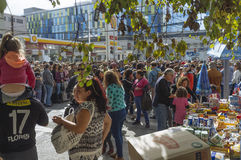 Valparaiso, Chile. May 21, 2017. Civic military celebration for May 21 in the port of Valparaiso. Unknown people waiting for the parade Royalty Free Stock Images