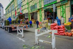 VALPARAISO, CHILE - SEPTEMBER, 15, 2018: Outdoor view of fruits and vegetables for sale in a street next to the historic. Market in Valparaiso, Chile stock photo