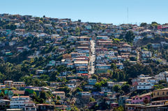 Valparaiso Houses. Valparaiso Hills, Chile, is located in central Chile, 120 km (75 mi) to the northwest of the capital Santiago Stock Image