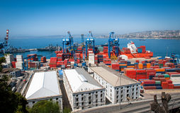 Valparaiso port activity. Great aerial shot of Valparaiso port activity. Great set of colors and building perspective Stock Photography