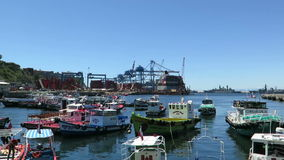 Valparaiso Port in Chile. Port of Valparaiso in Chile stock video footage