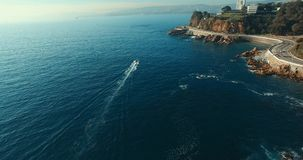 Valparaiso`s Aereal View, Chile. Boat from above stock footage