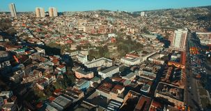 Valparaiso`s Aereal View, Chile. Drone Aerial Image. Valparaiso, Chile stock video