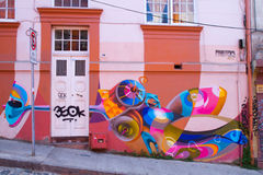 Valparaiso Street Art Graffiti. VALPARAISO - MARCH 03: Street art in Concepcion and Alegre districts of the protected UNESCO World Heritage Site of Valparaiso on stock photo
