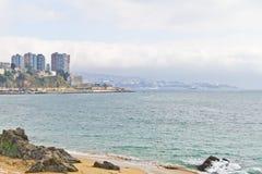 Valparaiso uit Vina del Mar wordt genomen die Stock Foto's