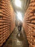Valpelline,奥斯塔,意大利- 2017年4月24日:典型的乳酪Proces 免版税库存照片