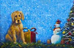 Valphund med original- målning för gåvaask Glad snögubbe i röda lock och julgran Royaltyfri Bild