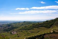 Valpolicella hills landscape, Italian viticulture area, Italy. Valpolicella hills landscape with Garda lake in background. Italian viticulture area, Italy royalty free stock photography