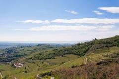 Valpolicella hills landscape, Italian viticulture area, Italy. Valpolicella hills landscape with Garda lake in background. Italian viticulture area, Italy royalty free stock photos