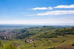 Valpolicella hills landscape, Italian viticulture area, Italy. Valpolicella hills landscape with Garda lake in background. Italian viticulture area, Italy stock images