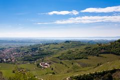 Valpolicella hills landscape, Italian viticulture area, Italy. Valpolicella hills landscape with Garda lake in background. Italian viticulture area, Italy stock image