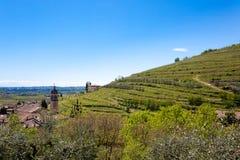 Valpolicella hills landscape, Italian viticulture area, Italy. Rural landscape gargagnago santambrogio di valley agriculture blue country countryside farming stock photography